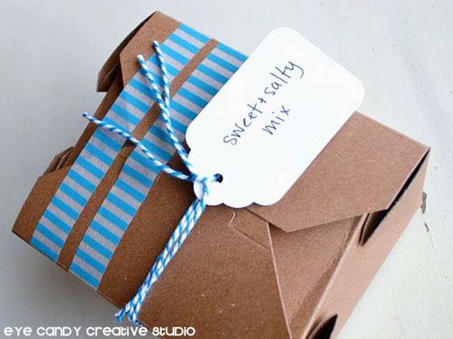 package in gift box, washi tape, packaged father's day treat