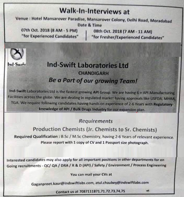Ind-Swift Laboratories Walk In Interview Freshers&Experienced For Production, Quality Assurance, Quality Control, DRA, R&D at 7&8 October
