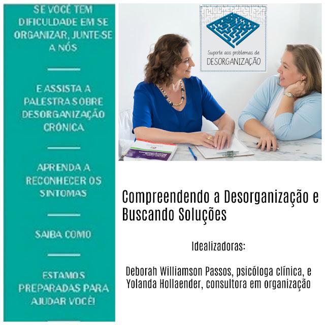 imagem de duas profissionais com a chamada para a palestra Compreendendo a Desorganização e Buscando Soluções