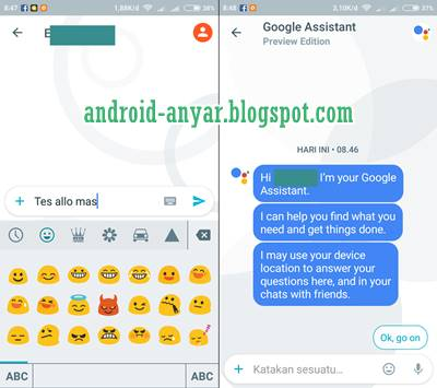 Tampilan chatting Google Allo