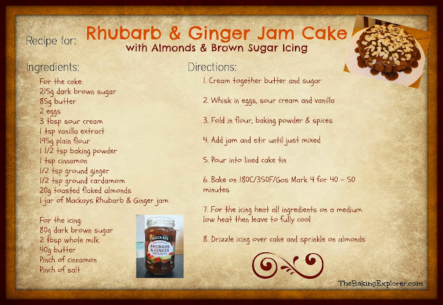 The Baking Explorer: Rhubarb & Ginger Jam Cake