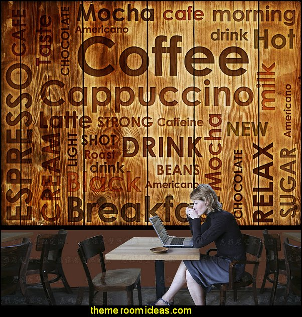 Nostalgic vintage mural coffee personalized letter wallpaper casual background wallpaper