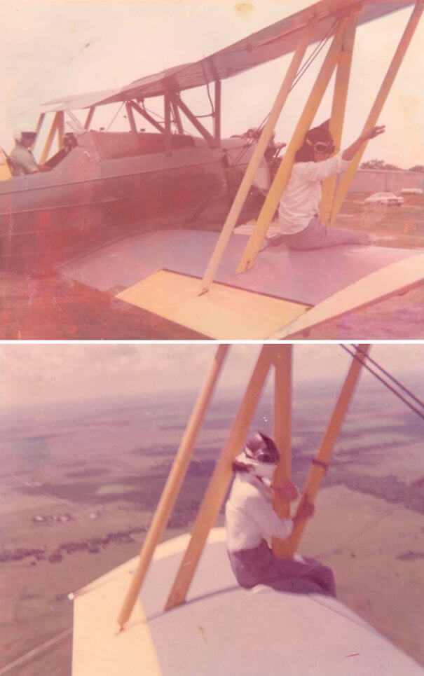 25 Fascinating Pictures Show How Cool Our Grandparents Used To Be - Granny On The Wing Of My Dad's Cropduster Plane. She Did This A Few Times That I Know Of