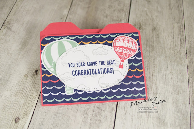 Hot Air Balloon Gift Card File Folder Card made with the Stampin Up Envelope Punch Board