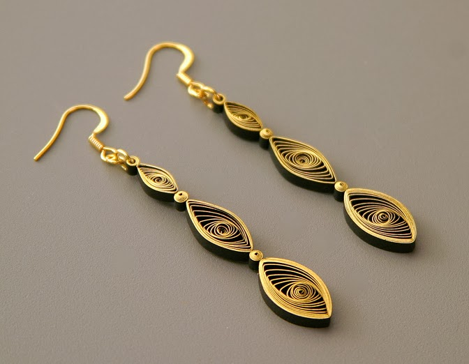 Gilded Paper Drop Earrings - paper jewelry by Ann Martin