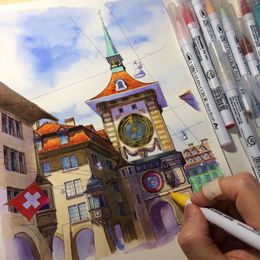 11-Bern-old-town-Rihiko-Architectural-Travel-Drawings-and-Painting-www-designstack-co
