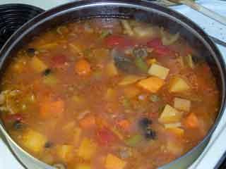 Beef stew in a bucket