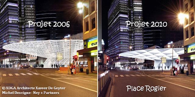 Place Rogier - Auvent surplombant la place et le patio donnant accès à la station de Métro - Projet 2006 modifié en 2010 pour raisons budgétaires - Bruxelles-Bruxellons