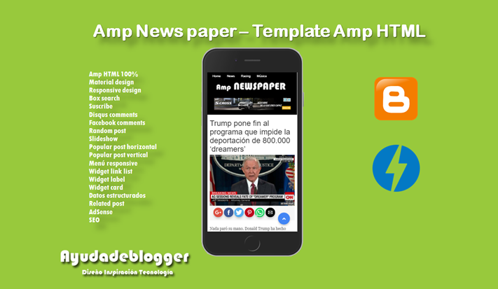 Amp News paper Premium Blogger Template Amp HTML