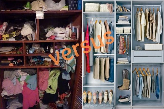 armario desordenado vs. armario ordenado