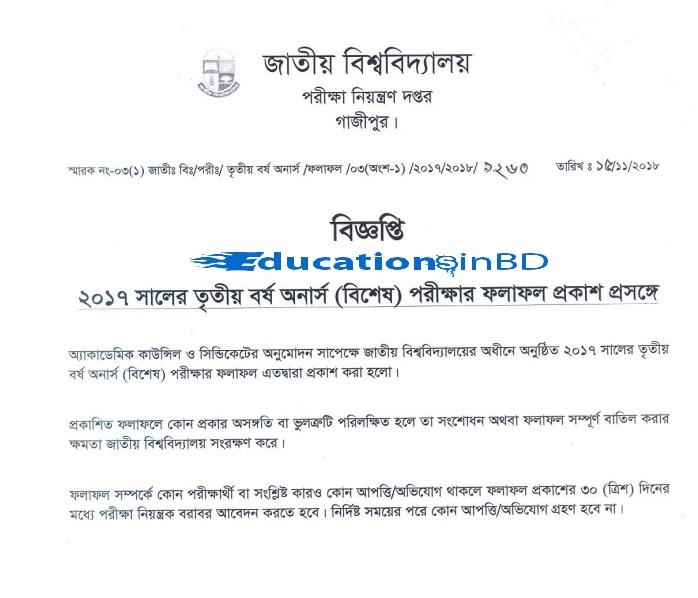 NU Honours 3rd year special exam Result 2018