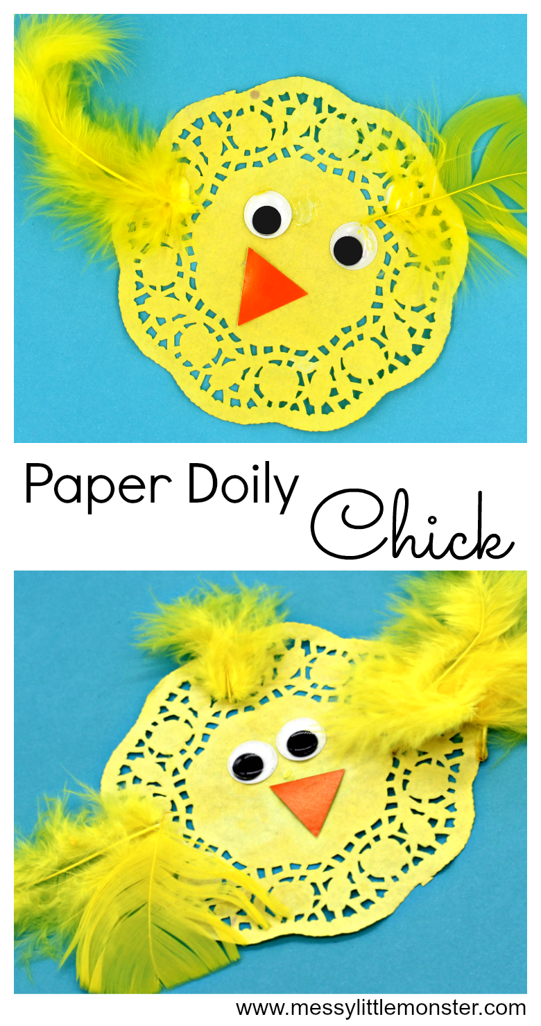 An easy paper doily chick craft for kids.  A great activity for an Easter or Spring themed project for toddlers and preschoolers.