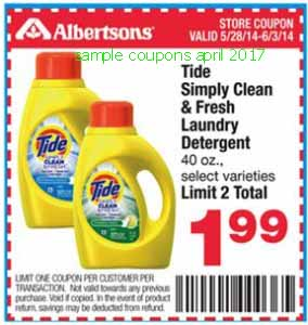 free Tide coupons for april 2017