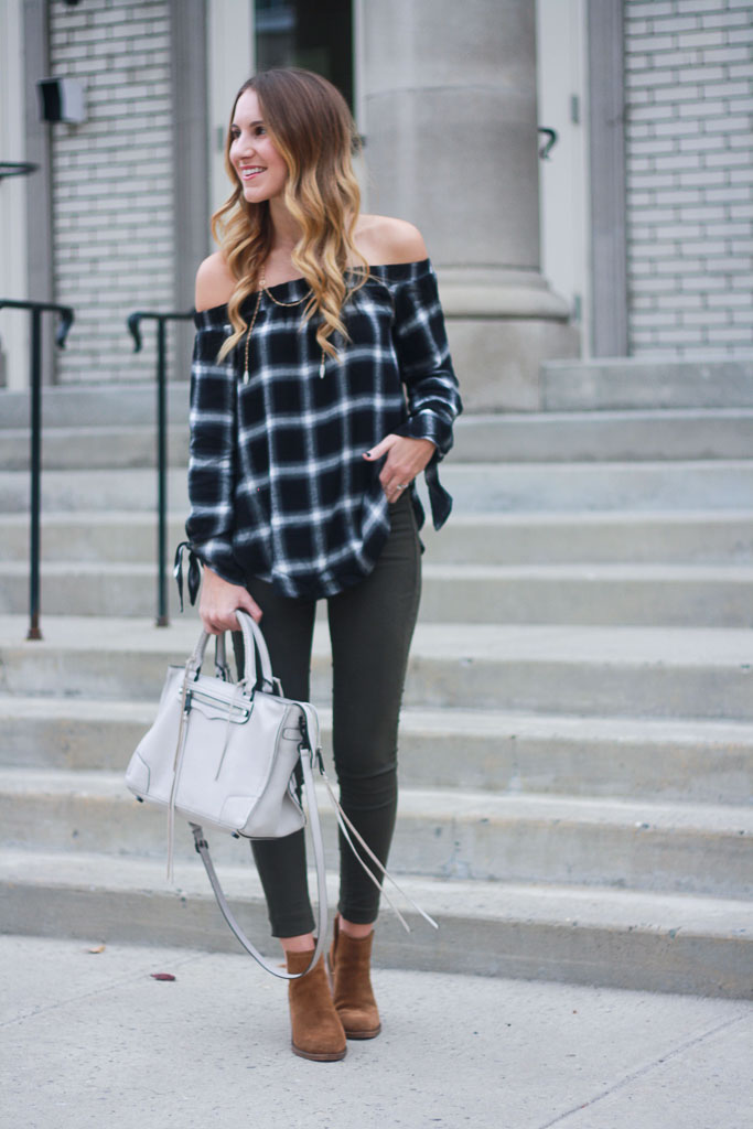 5f04a1801a9 Plaid off the Shoulder Top - Twenties Girl Style