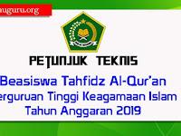 Juknis Beasiswa Tahfidz Al-Qur'an PTKI Tahun Anggaran 2019