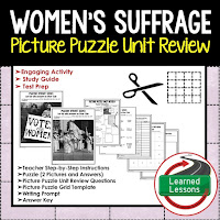 American History Picture Puzzles are great for TEST PREP, UNIT REVIEWS, TEST REVIEWS, and STUDY GUIDES, Women's Suffrage