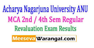 Acharya Nagarjuna University MCA 2nd / 4th Sem Regular April 2016 Revaluation Exam Results