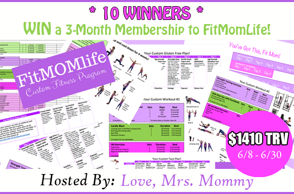 A 3-Month Membership to FitMomLife! A $1410 TRV Giveaway!