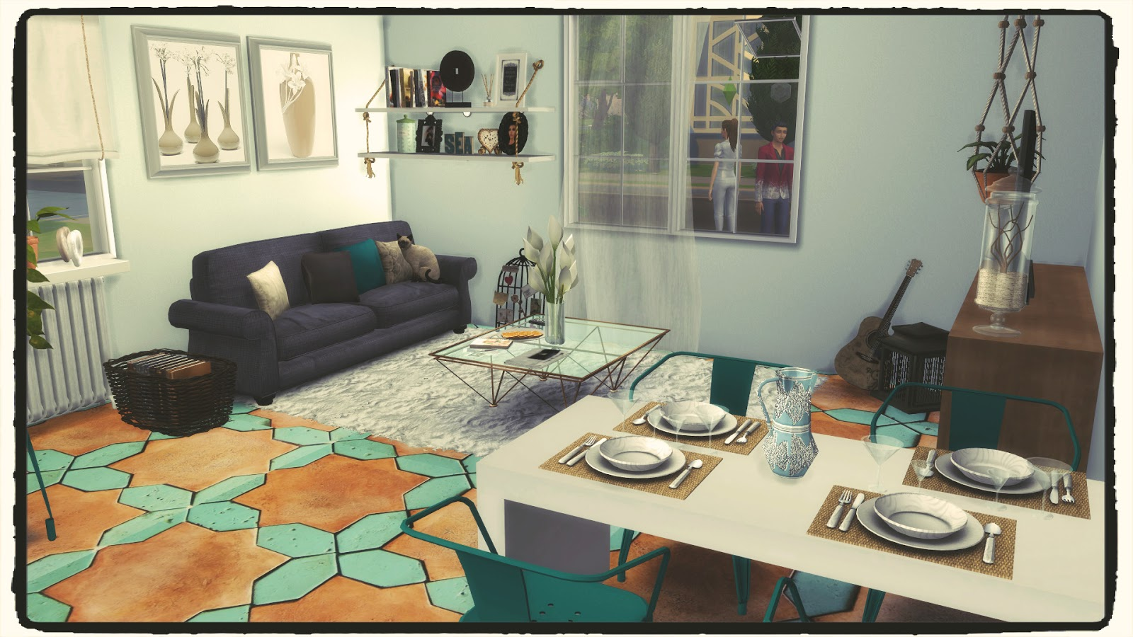 Sims 4 kitchen living room iii build decoration for Living room sims 4