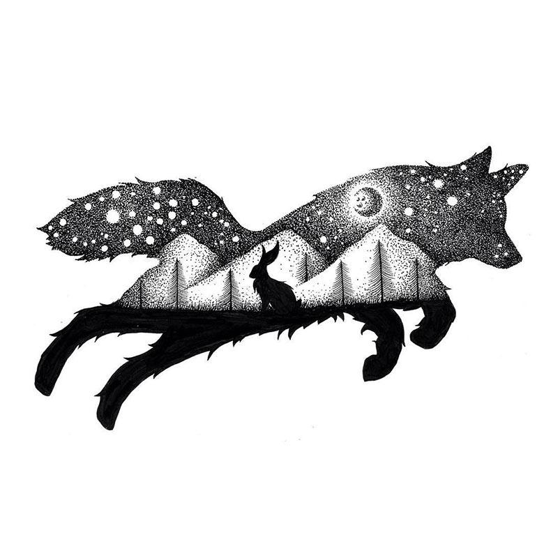 Ilustraciones de \'doble exposición\' del Reino Animal hechos de miles ...