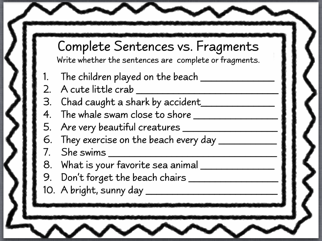 Printables Sentence Fragment Worksheet sentence fragments lessons tes teach worksheet 1 done let39s talk guppy grammar week