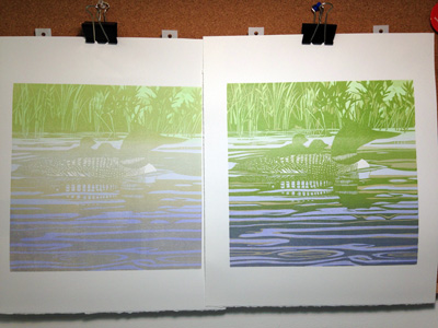 Brush and Baren: Linocut in Progress: So much blue and green!