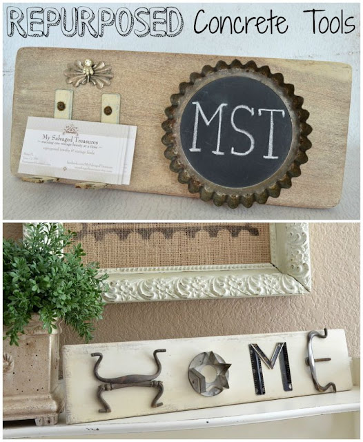 repurposed concrete tools home sign and business card holder