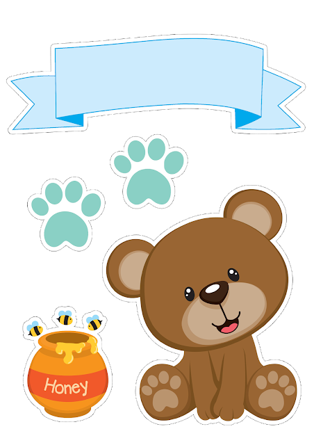 Bear Boy with Honey  Free Printable Cake Toppers.