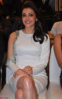 Beautiful Smiling Kajal Aggarwal in Creamy White Gown at MLA Telugu Movie Success Meet ~ .com Exclusive Pics 005.jpg
