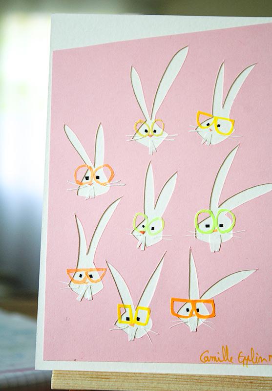 Collage de Pâques , lapins à lunettes