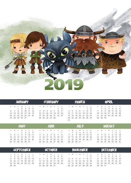 Calendario 2019 de Cómo Entrenar a tu Dragón para Imprimir Gratis.