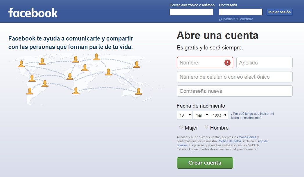 Facebook login iniciar sesion