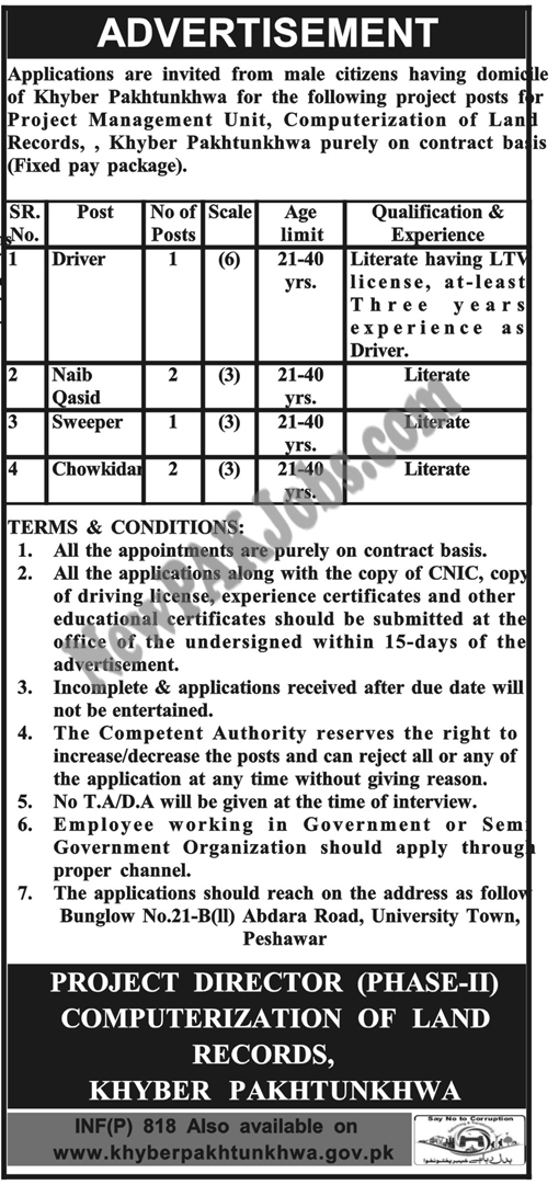 Computerization of Land Record, Project Management Unit, Latest Jobs in KPK 2018