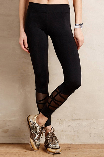 Spliced black leggings