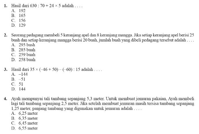 Soal Latihan Ujian Sekolah Us Sd Mi Tahun 2016 Plus Kunci Jawaban Prestasi Pelajar Indonesia