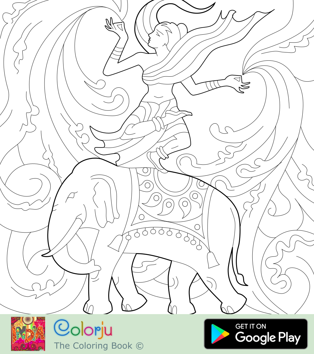 Free Dance On Elephant Coloring Page