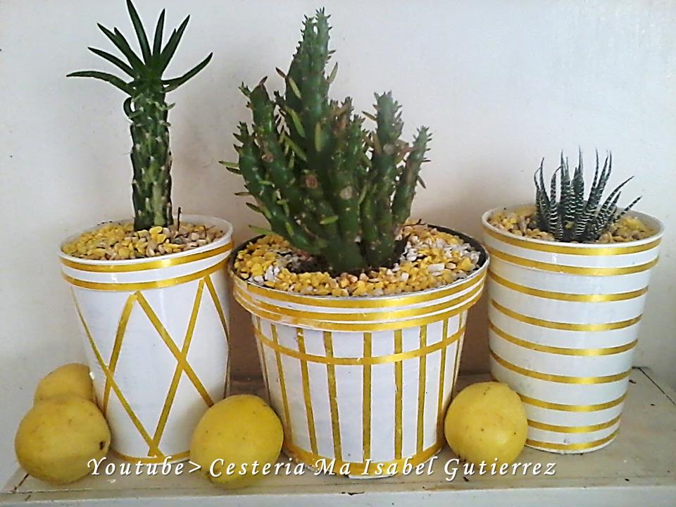 Cester a y regalos ecol gicos isa como hacer macetas con latas de pl stico - Como decorar macetas con piedras ...
