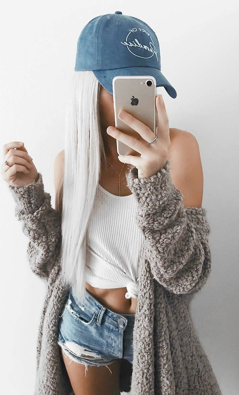 how to style a cardigan : denim hat + top + denim shorts