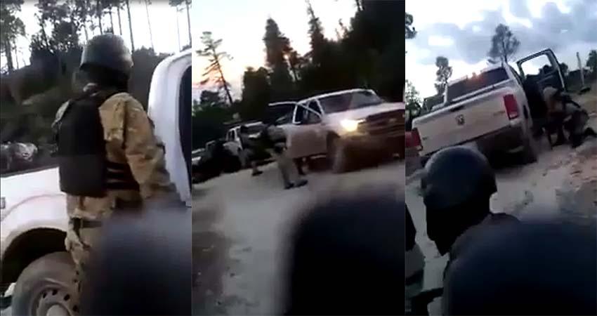 VÍDEO: Convoy de sicarios en la sierra vestidos como militares se enfrentan a otro grupo rival