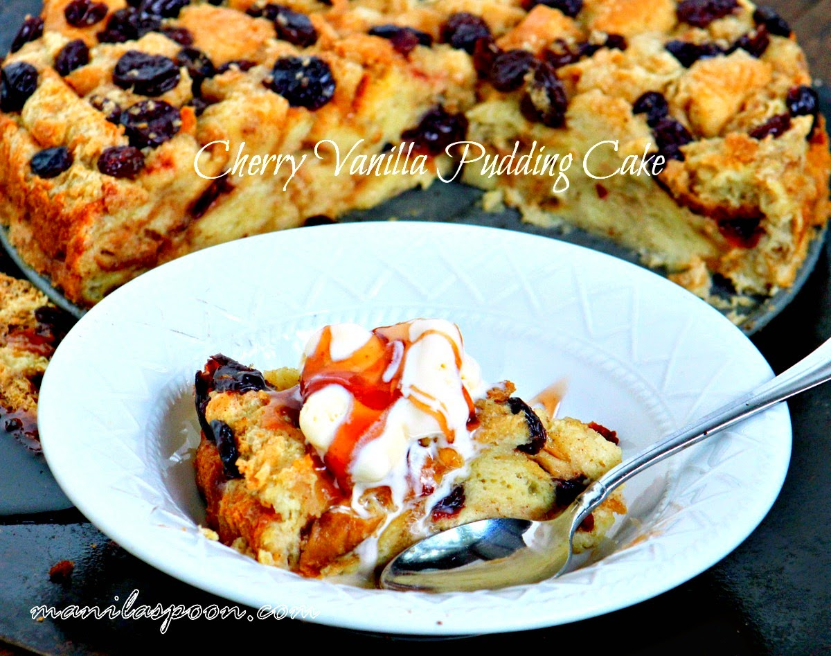 Much like a delicious French toast, this scrumptious bread and butter vanilla pudding cake is the best way to start your day! You can replace the cherries with other fruits so you can enjoy this cake no matter what the season! | manilaspoon.com