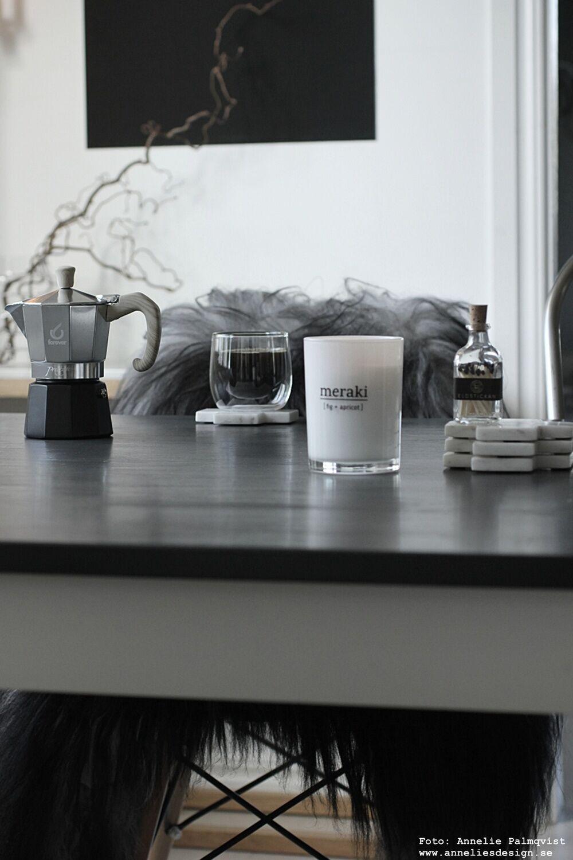 annelies design, webbutik, webshop, nätbutik, kök, kaffe, kaffebryggare, espresso, bryggare, mugg, dubbla glas, ormhassel, glasunderlägg, marmor, underlägg, meraki, doftljus