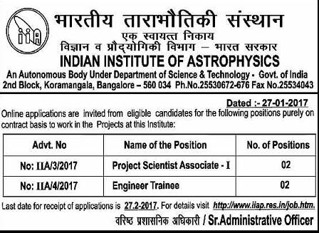 IIA Bangalore Recruitment 2017