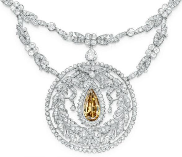 Detail; a Belle Epoque colored diamond necklace, circa 1910.