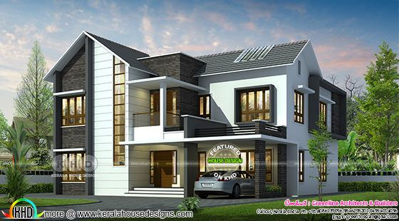 2814 square feet 4 bedroom modern mixed roof home