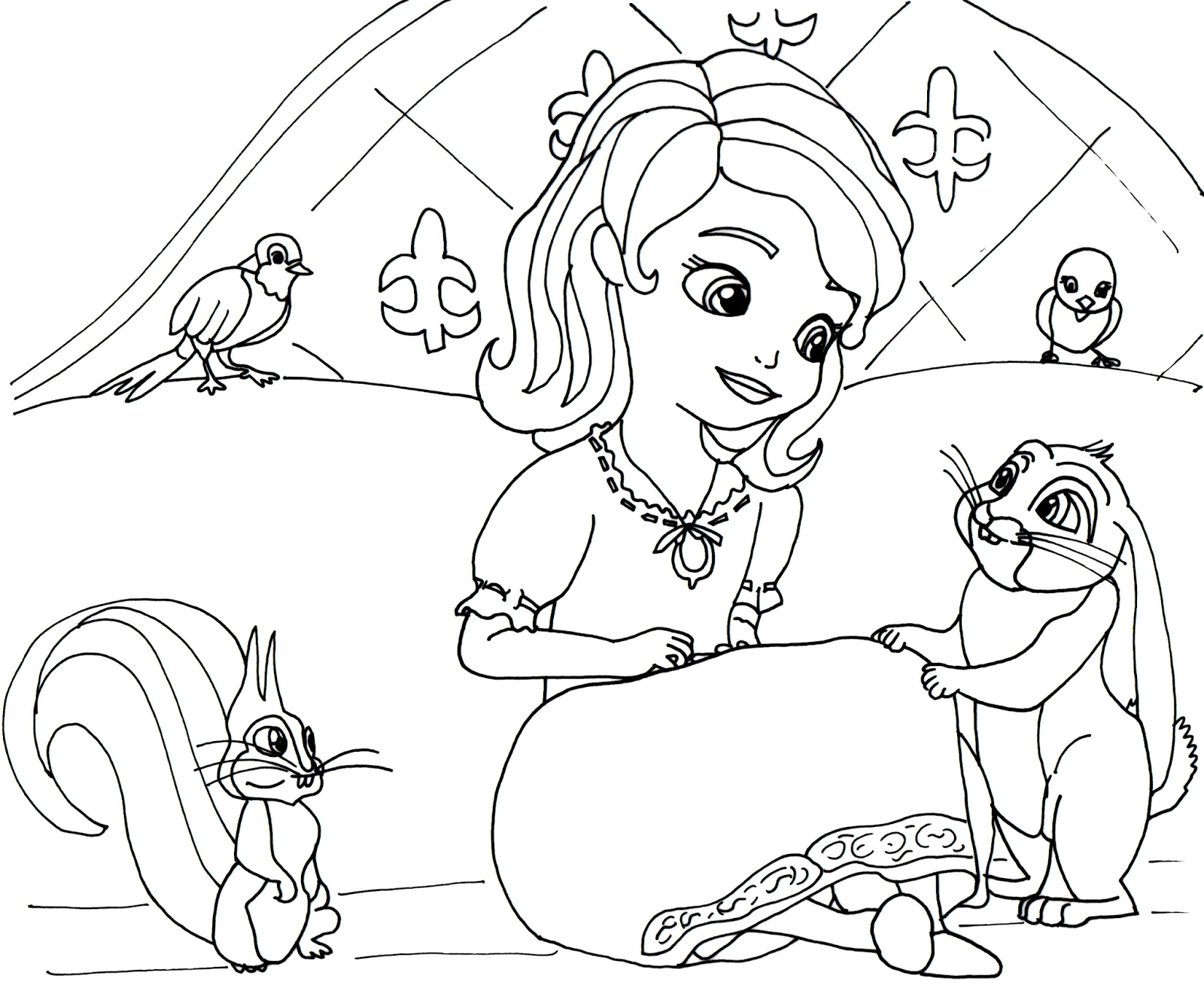 sofia the first coloring page in night gown