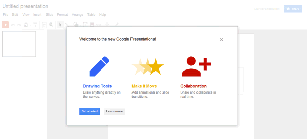 the new version of google presentations