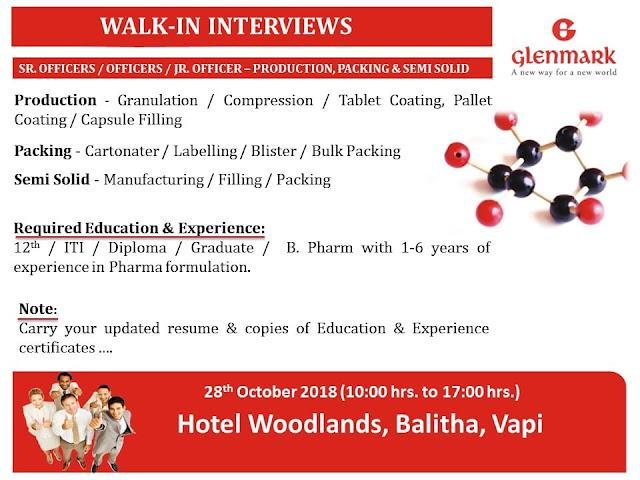Glenmark Pharmaceuticals Ltd. Walk In Interview For 12th, ITI, Diploma, B.Pharm