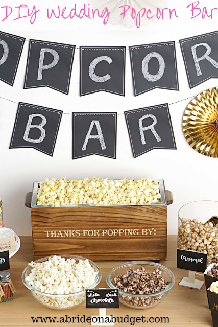 Thinking of a popcorn bar for your wedding? Figure out exactly what you need to do in this DIY Wedding Popcorn Bar post on www.abrideonabudget.com. #wedding #weddingplanning #actionstation #popcornbar #diywedding