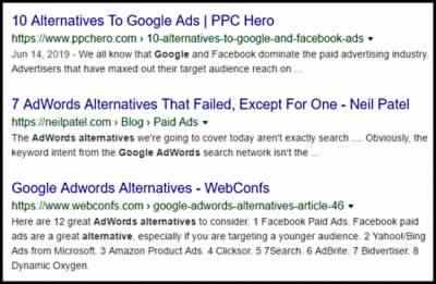 Organic Search Results Example Using Search Engine Optimization