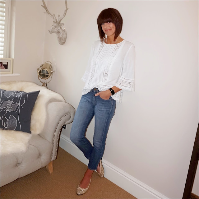 My midlife fashion, mango lace detail top, baukjen the boyfriend jeans, french sole henrietta gold glitter ballet pump